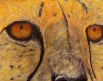 "Cheetah wildlife cat animal original art oil painting modern realism on 12"" x 24"" canvas by Sandra Cutrer Fine Art"