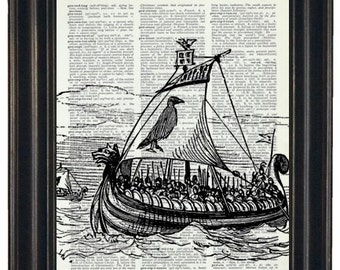 BOGO SALE Viking Ship Print Dictionary Art Print Viking Dictionary Art Print  Upcycled Vintage Dictionary Book Page Print