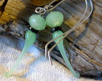 delicate pale green lamp work dangles