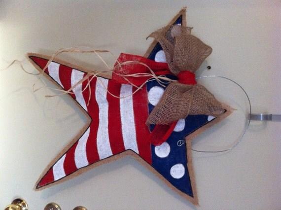 Patriotic Star Burlap Door Hanger