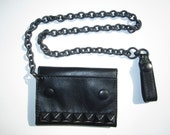 black leather black stud wallet with black heavy chain.