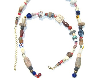 African trade bead Boho necklace with Mali wedding beads