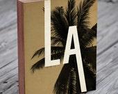 LA Los Angeles California Art - Wood Block Art Print