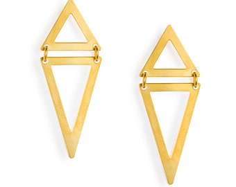 LES FORMES - Double triangle Gold-coated brass and silver earrings Maya (FBO02)