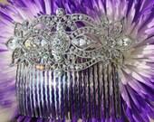 art deco style crystal clear rhinestone silver bridal hair comb wedding hair accessories large hair combs headpiece head piece for bride