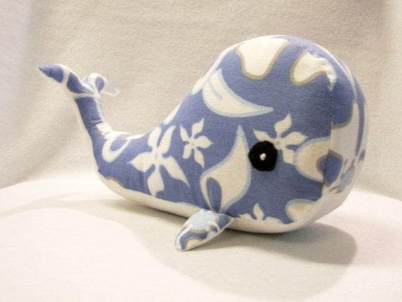 Stuffed Toy Whale in Blue and White Hawaiian Print, Handmade, Original Pattern