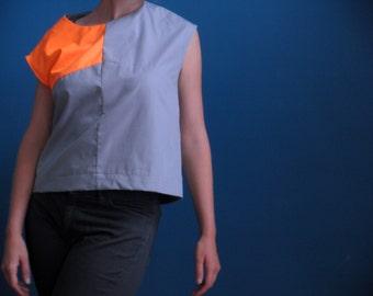 50% DISCOUNT sleeveless colorblock shirt in ash grey/ neon orange