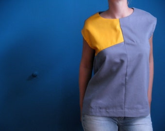 50% DISCOUNT sleeveless colorblock shirt in ash grey/ deep yellow