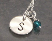 Necklace -  Monogrammed Hand Stamped Initial on Sterling Silver Charm with Single Pearl or Birth Crystal Charm - Great for Bridesmaids