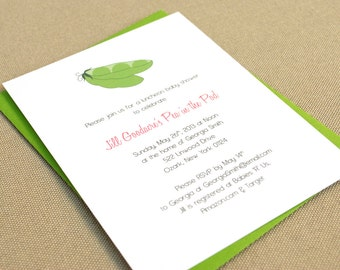 Pea Pod Baby Shower Invitation / Birth Announcement with Sweet Peas