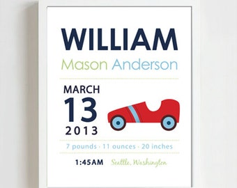 8 x 10 - Custom Birth Announcement Print - vintage race car