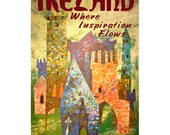 IRELAND 5- Handmade Leather Postcard / Note Card / Fridge Magnet - Travel Art