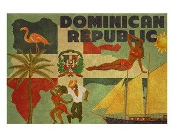 DOMINICAN REPUBLIC 2FS- Handmade Leather Journal / Sketchbook - Travel Art