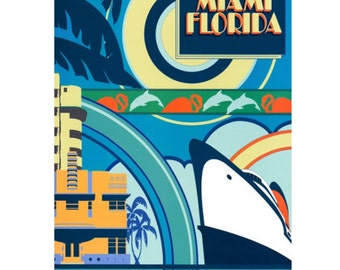 MIAMI 5- Handmade Leather Postcard / Note Card / Fridge Magnet - Travel Art
