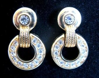 Vintage 1980s Swarovski Earrings Gold Tone Rhinestone Loop Pierced Earrings- Swan Stamp
