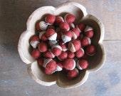Felted wool acorns, Brick Red, wholesale casepack of 50