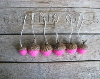Felted wool acorn ornaments, set of 6, Hot Pink