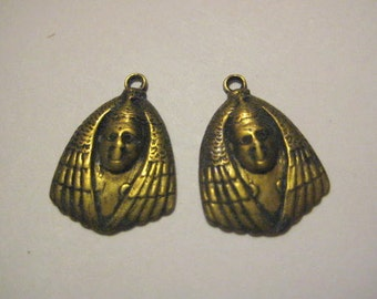 Vintage Brass Egyptian Revival Mummy Face Sarcophagus Head Stampings, Charms, Drops or Pendant Jewelry Findings, 20mm, 2 pcs. (1 pair)
