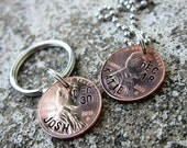 Custom ONE Side Stamped Penny with Year -  (necklace, keychain, or cell charm) -Made to Order-