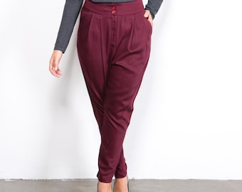 Bordo riding pants, high waist Trousers,cotton trousers, red pants, red leggings, riding pants, red bottoms, loose fit