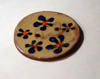 Handmade ceramic buttons - blue and orange pottery button C31