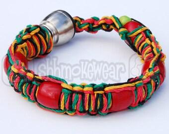 """Shhmokewear """"Rasta"""" Original HEMP Wrist Hookah Bracelet Pipe"""