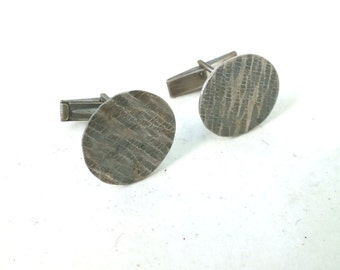 Line Texture Sterling Silver Cuff links---Antiqued Finish