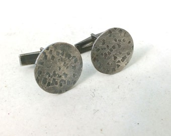 Triangle  Texture Sterling Silver Cuff links---Antiqued Finish