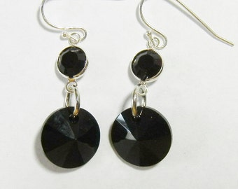 Jet Black Swarovski Crystal Earrings