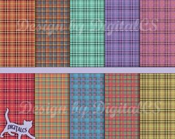 Plaid digital paper Madras plaid paper Plaid scrapbook paper Printable rustic digital paper fall color autumn colors