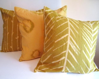Tribal Arrow Yellow Pillow - Painted Pillow Cover 16x16 - Arrow Throw Pillow - Mustard Yellow Pillow - Rustic Decor