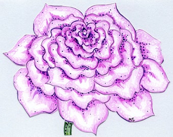 Purple Rose Flower Card - Original Art Card - Valentine Card for Her - Hand Drawn Colored Pencil Ink Drawing - Papercut Card, Metallic