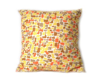 Vintage Mod Pebble Print Throw Pillow … Handmade with Vintage Fabric, 20 x 20, Square Down, Cushion, Orange Yellow and Gray, Retro Geometric