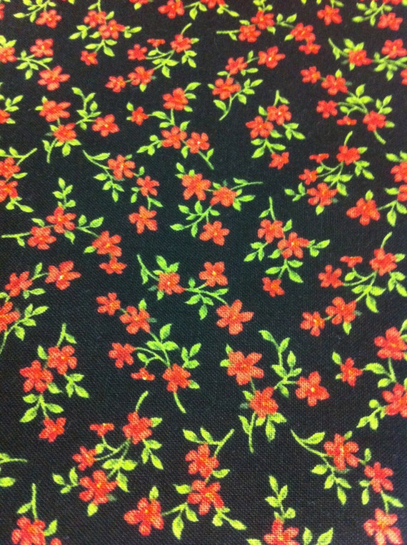 Bed of Tiny Red Flowers on Black Cotton Fabric/Sewing Supplies/Suiting Fabric/Quilting/By the Yard