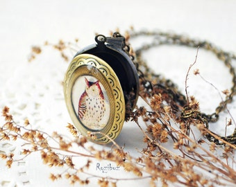 Owl locket necklace - vintage owl necklace, owl jewelry, owl locket necklace, gift for her for girl, long chain brass - ready to ship