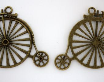 Bronze Bicycle Wheels Charm -- antique bronze charm pendant Jewelry Findings 50x43mm - 6pcs (0992)