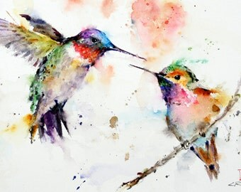 HUMMINGBIRDS 11 x14 Watercolor Print by Dean Crouser