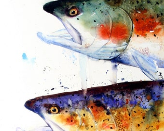 TROUT Watercolor Print by Dean Crouser