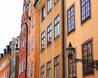 Stockholm Photograph - Sweden Print - Old Town Photo - European Architecture Photography Colorful Autumn Decor Gold Wall Travel Art