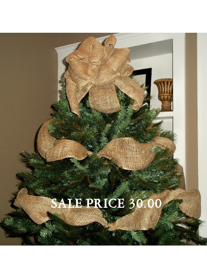 Burlap christmas tree topper bow with garland ribbon ready to for Burlap ribbon on tree
