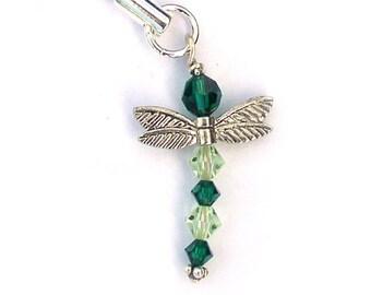 Swarovski Crystal Dragonfly Ornament Spring Green Sterling Silver
