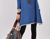Casual Long Sleeved Sweater Dress Knitwear Shirt Blouse- Blue - deboy2000