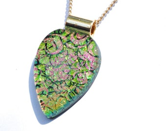 Fused Glass Necklace Pendant, Dichroic Glass Pendant - Floral Leaf, Bright, Colorful - Bright Green, Pink, Gold (Item 10567-P)