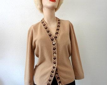 1950s Wool Sweater argyle trim cardigan - vintage 50s preppy fall fashion
