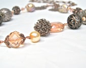 """Peach And Copper Opera Length Necklace, Art Nouveau Style, Vintage Inspired, Boho Style, """"Cashmere And Pearls"""""""
