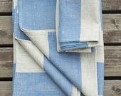 Natural Blue Linen Bath Towel Venice