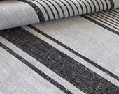 2 meters of Natural Black Striped Linen Fabric