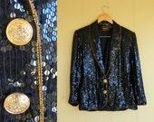 black sequin blazer jacket . vintage 80s . medium