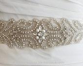 Pearl bridal sash, pearl wedding belt, crystal pearl sash, crystal pearl belt, rhinestone pearl sash, rhinestone pearl belt - FARAH III