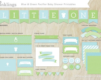 Baby Shower Decorations  // Printable // Blue & Green Pacifier Collection